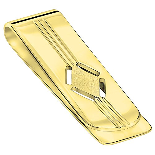 Sterling Silver .925 Money Clip, Engravable Solid Design, Designed and Made In Italy. By Sterling Manufacturers (Gold)