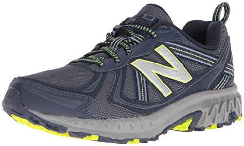- New Balance Men's MT410v5 Cushioning Trail Running Shoe, Navy/Yelow, 8 4E US