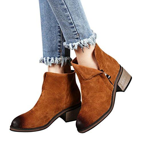fereshte Women's Side Zipper Suede Pointed-Toe Low Block Heel Ankle Boot Yellow wkPWK