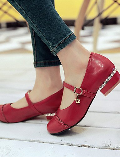 Red Blanco Redonda 5 5 Casual 10 Uk7 Zapatos Negro Rojo Cn43 Mujer Eu41 Uk8 De us10 Zq Eu42 5 us9 Cn42 Vestido Tac¨®n Semicuero 8 Red Plano Exterior 5 Planos Punta 6qBSYxn