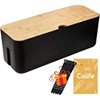 Cable Management Box by Calife, Cords Organizer Hide Wires Power Strips Chargers, Bamboo Lid, Surge Protectors Storage…