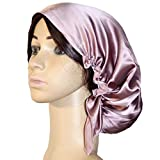 Women's Silk Cap for Sleeping, 100% Silk Sleep Bonnet Night Hat Head Cover for Natural Hair Curly Hair, Cameo Brown Large Size