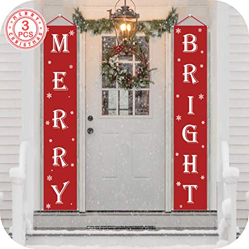OurWarm Merry Christmas Banner, Christmas Signs for Christmas Decisions Outdoor Indoor, Red Banner Merry Bright Porch with Logo Xmas Decor Banners for Home Wall Door Apartment Party