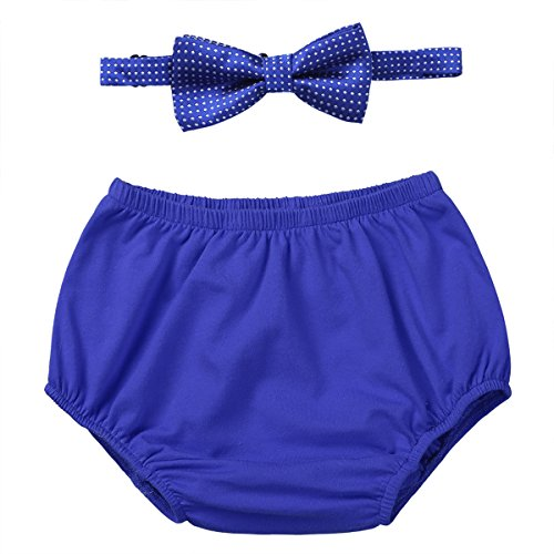iiniim Baby Boy's 1st Birthday Cake Smash Outfit Bloomers Diaper Cover with Bow-tie Set Newborn Photo Prop Outfit Blue One Size Diaper Funny Diaper Cover