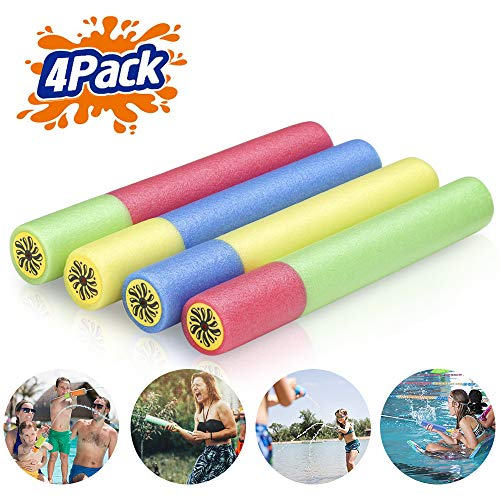 Creatck Water Gun, 4 Pack Water Guns for Kids Soft Foam Water Blaster Summer Pool Toys for Child Adults - Family Game Expert (Ramdon Color Handle)]()
