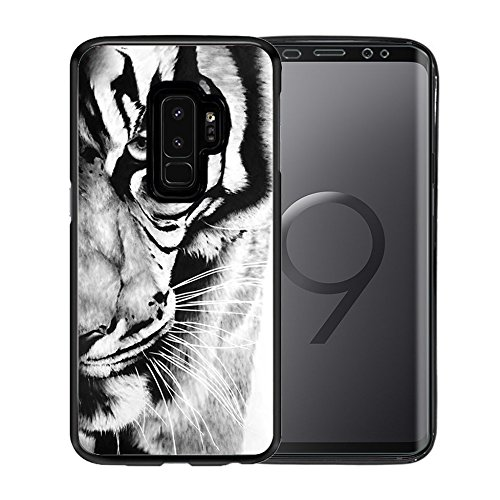 (Cover For Samsung Galaxy S9 Plus Case, TPU Black Case For for Samsung Galaxy S9 Plus 6.2 Inch - Retro black and white tiger pattern)