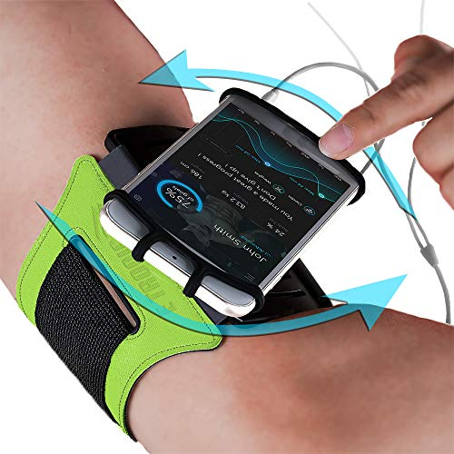 Universal Phone Armband: Rotatable Running Arm Band Holder Case for All Phones (Green) Use for All Apple iPhone 6 6S 7 8 X XR XS Plus & All Android Samsung Galaxy S7 S8 S9 + Note 8 9 Edge LG & Pixel