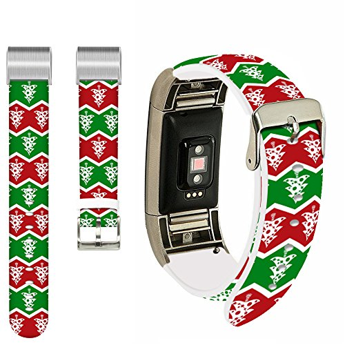 Fitbit Charge 2 Strap Leather men,Ecute Replacement Band Fitbit Charge 2 Leather Bands Strap With Metal Connectors For Fitbit Charge 2 Watch -Beautiful Christmas Tree