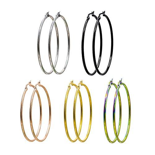 (Jaykay Stainless Steel Hoop Earrings for Woman 5 Pairs Endless Hoops Set (50MM 5-COLORS))
