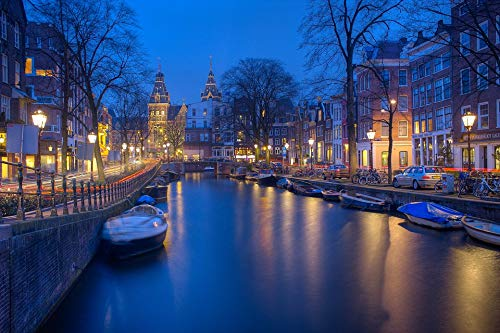 - Home Comforts Framed Art for Your Wall Canals Night Amsterdam Wallpaper Evening Vivid Imagery 10 x 13 Frame