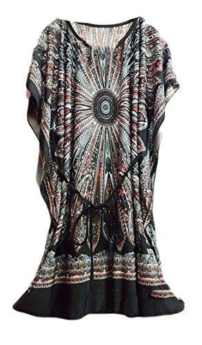 Crewneck Batwing Belted Print Dress Womens Sleeve Fit Big Black Tang Loose Lounge qxXCIwX70