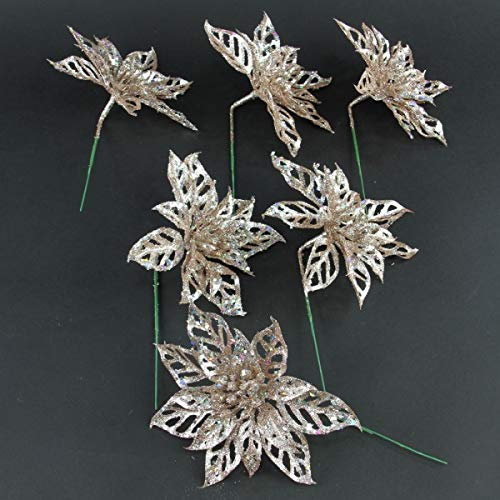 Shinoda Design Center 6 D Glittered Rose Gold Poinsettia Pick 12//Bag