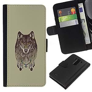 NEECELL GIFT forCITY // Billetera de cuero Caso Cubierta de protección Carcasa / Leather Wallet Case for LG G3 // Lobo gris - Dreamcatcher