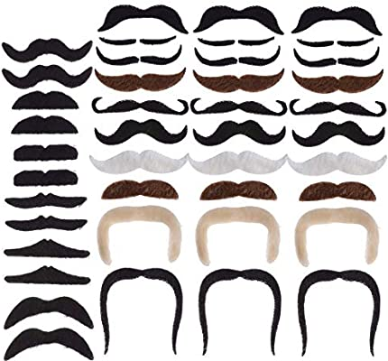 Perfect for Party Supplies Decorations PChero 42pcs Self Adhesive Mustaches for Cosplay Christmas Props