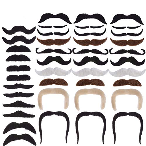 PChero 42pcs Self Adhesive Mustaches for Cosplay Christmas