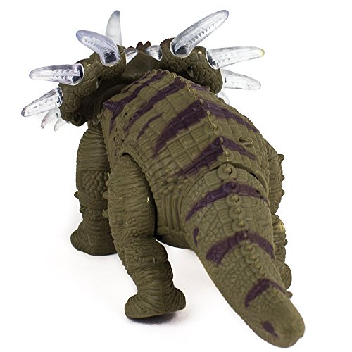 Toysery Walking Triceratops Dinosaur Toy with Amazing Sounds, Dinosaur Noises Lights & Movement for Kids (Colors May Vary)