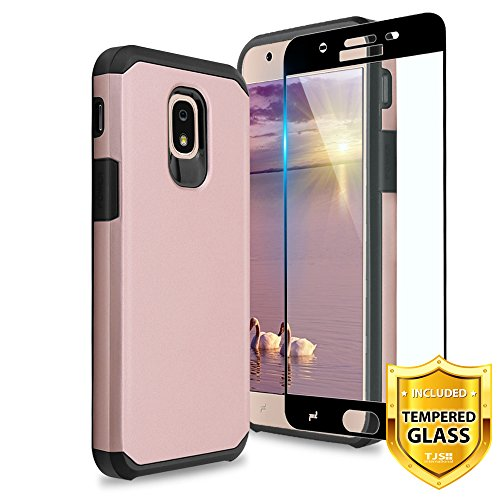 TJS Galaxy J3 2018/J3 V 2018/J337/Express Prime 3/J3 Star/J3 Orbit/J3 Achieve/J3 Prime 2/Amp Prime 3/Sol 3 Case, With [Full Coverage Tempered Glass Screen Protector] Hybrid Shockproof Case (Rose Gold)