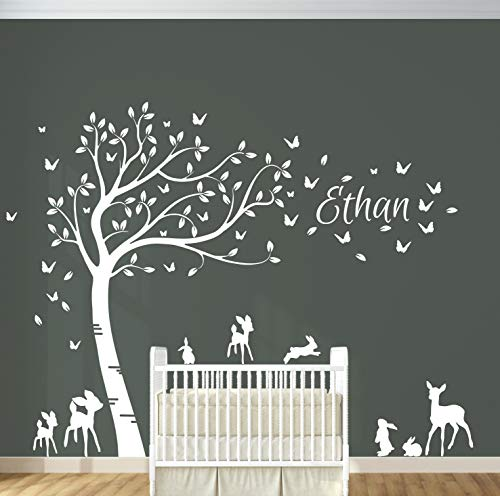 (Personalised Name with Full Size Customizable Baby Deer and Bunny Rabbits Forest Tree Nursery Room Wall Decal Sticker. DD015)