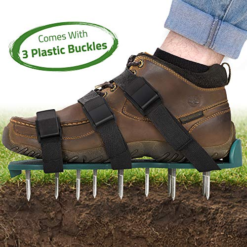 Lawn Aerator Spike Shoes - For Effectively Aerating Lawn, Soil – With 3 Adjustable Straps & Heavy Duty Plastic Buckles – Universal Size that Fits all - For a Greener and Healthier Yard & Garden Tool