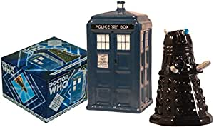 Dr. Who TARDIS v. Dalek Salt and Pepper Shaker - BBC Licensed