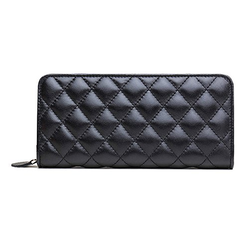 ZENTEII Women Genuine Leather Quilted Pattern Long Wallet