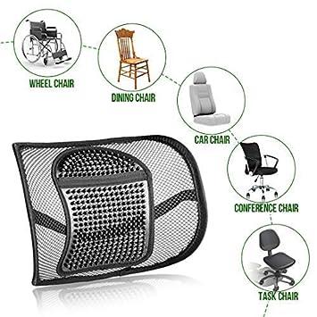 silla casa oficina Coj/ín de apoyo para la espalda respaldo lumbar coj/ín para aliviar el dolor de espalda y coxis 30 cm x 40 cm Black-2 coj/ín lumbar de malla de flujo de aire para coche