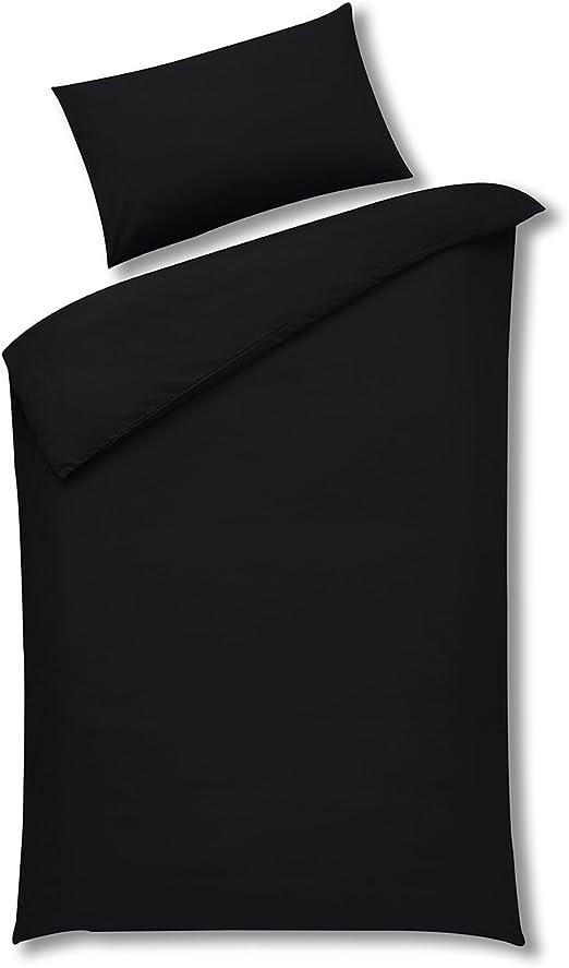 Sleepscene Negro algodón Juego de Funda nórdica percal de 180 ...