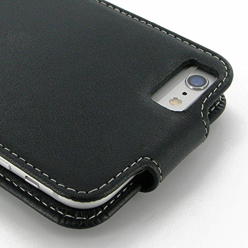 Apple iPhone 6 6s Plus Case, Leather Case, Flip Case, Protective Case, Phone Case - Deluxe Flip Case (Black) by Pdair