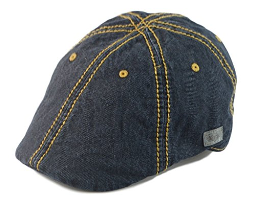 Duckbill Driver - Mens Vintage Look 6pannel Duck Bill Curved Ivy Drivers Hat One Size-Elastic Band (Denim Black)