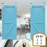 ZEKOO 13 FT Homedex Stainless Steel Roller National Sliding Door Track Closet Cabinet Set Fit Double Wood Barn Doors