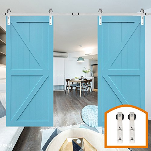 ZEKOO 13 FT Homedex Stainless Steel Roller National Sliding Door Track Closet Cabinet Set Fit Double Wood Barn Doors by HomeDeco Hardware