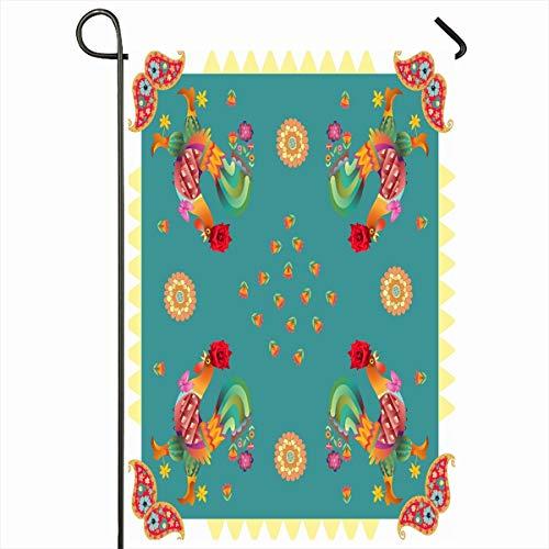 (Ahawoso Garden Flag 12x18 Inches Rectangular Year Rooster Bandana Fantasy Voile Bandanna Chiffon Ethnic Design Shawl Outdoor Decorative Seasonal Double Sided Home House Yard Sign)