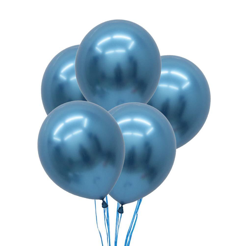STOBOK 5pcs 12 Pouces Latex Ballons métalliques fête Anniversaire Mariage Perle Ballons décoration (Bleu)