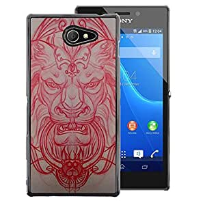 A-type Arte & diseño plástico duro Fundas Cover Cubre Hard Case Cover para Sony Xperia M2 (Lion Medieval Architecture Carving Red)