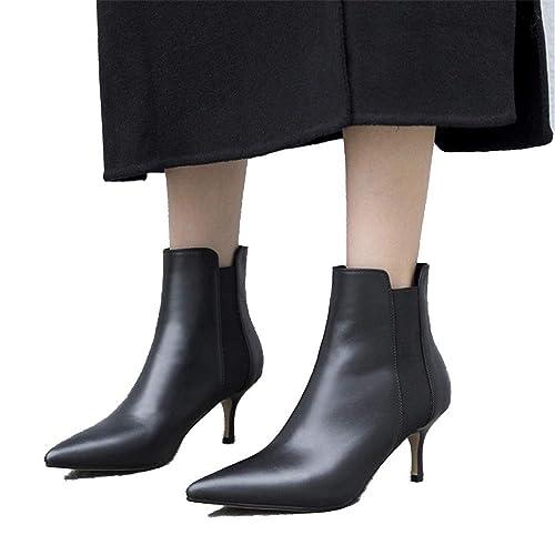 Shirloy Botas De Mujer Botines De Tacón Alto Botas Botines Zapatos De Mujer Casual Cuero Punta Estilete tacón Alto Temperamento Elegante Negro 39: ...