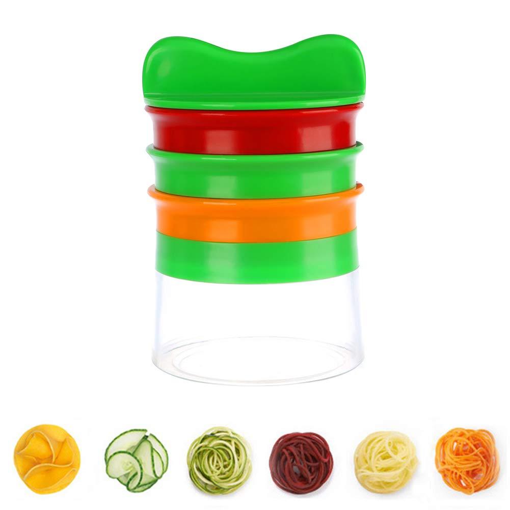 BONFOTO Vegetable Spiralizer 3-Blade Hand-Held Spiral Slicer for Zucchini Carrot Patato Beet Cucumber
