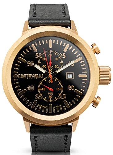 Chotovelli Big Pilot Men's Watch Analog Chronograph date display Black Leather Strap 747.14