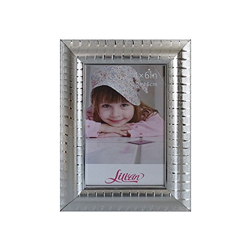 (Lilian Silver Fine Matte Frosted Stripes Collage Photo Frame 5x7Inch - Made to Display Pictures 4x6 Inches with Mat or 5x7 without Mat - Wall Mounting Material Included)