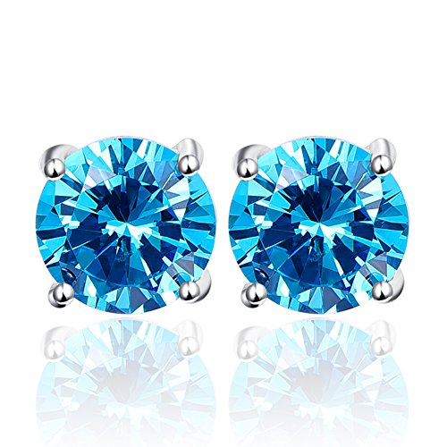 BONLAVIE 925 Sterling Silver 10mm Round Cut 11.8CT Created Swiss Blue Topaz Stud Earrings, March Birthstone
