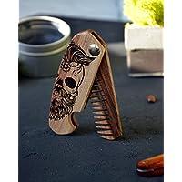 Wooden Beard Comb Folding Engraved Skull Moustache Walnut Man Hair Boyfriend Husband Mustache