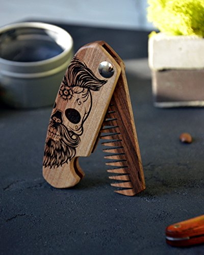 Wooden Beard Comb Folding Engraved Skull Moustache Walnut...