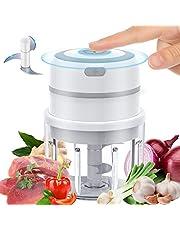 Electric Mini Garlic Chopper – Small Wireless Food Processor Portable Mini Garlic Choppers Blender Mincer Waterproof USB Charging for Ginger Onion Vegetable Meat Nut Chopper (300+250 ml Bowl) (300)