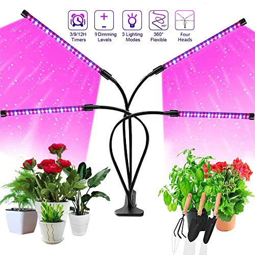 Grow Light, AUSPICE 2019 Upgraded Version 36W 4 Adjustable Goose Necks 72 LED 9 Dimmable Levels Grow Light for Indoor Plants, Plant Lights with Clip, Growing Lamp for Plants Growth with 3/9/12H Timer