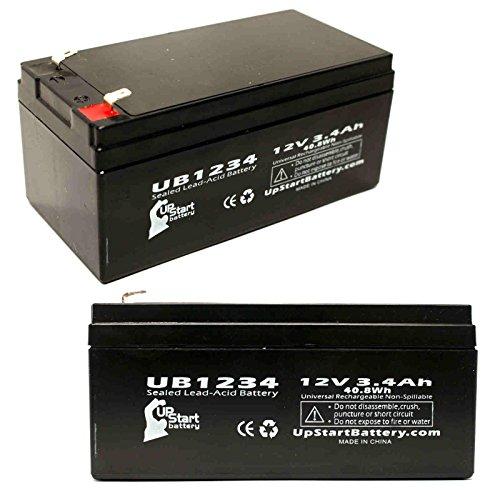 Aeros Instruments - 2x Pack - Aeros Instruments Inc. 5200 CAREEVAC Battery - Replacement UB1234 Universal Sealed Lead Acid Battery (12V, 3.4Ah, 3400mAh, F1 Terminal, AGM, SLA) - Includes 4 F1 to F2 Terminal Adapters