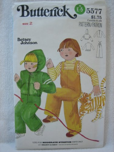 Butterick Vintage Pattern 5577 - Toddlers' T-Shirt, Overalls & Jacket Size 2