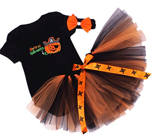 Cute Halloween Costumes For Baby Girls (CAKYE Baby Girl Halloween Costumes Infant My First Halloween Tutu Outfits (4PCs) (Small / 3-6 months, My First Halloween TuTu (3PCs)))