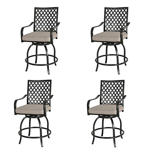 4 Set Chairs Swivel - Ulax furniture Outdoor 4-Piece Counter Height Swivel Bar Stools High Patio Dining Chair Set