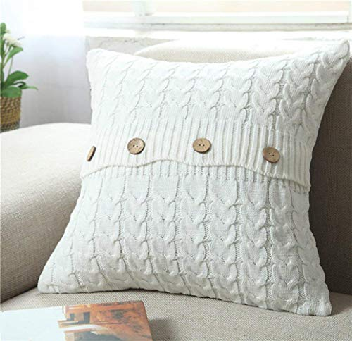 """Cotton Knitted Decorative Pillow Case Cushion Cover Cable Knitting Patterns Square Warm Throw Pillow Covers (Cream, 18"""" x 18"""") by MisDress"""
