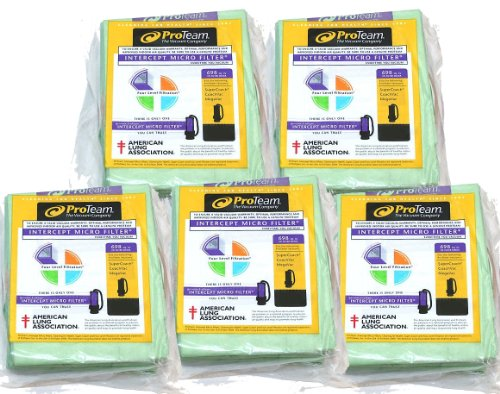 ProTeam 10 qt Backpack Bags - 5 Pack Bundle (100331) (100331 Vacuum Bag)