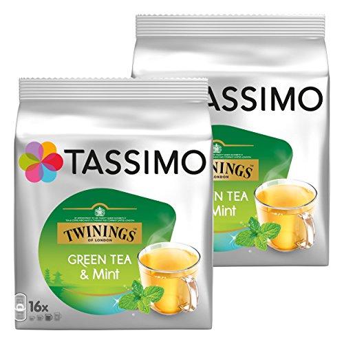 Tassimo Twinings Te verde y Menta, Paquete de 2, 2 x 16 T-Discs
